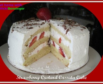 Strawberry Custard Cassata Cake