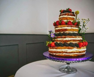 Naked Blackberry & Strawberry Wedding Cake