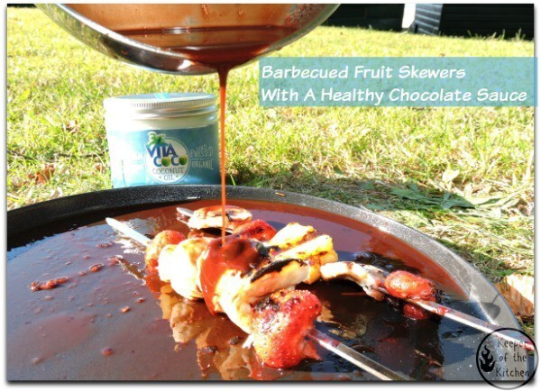 Barbecued Fruit Skewers With A Healthy Chocolate Sauce