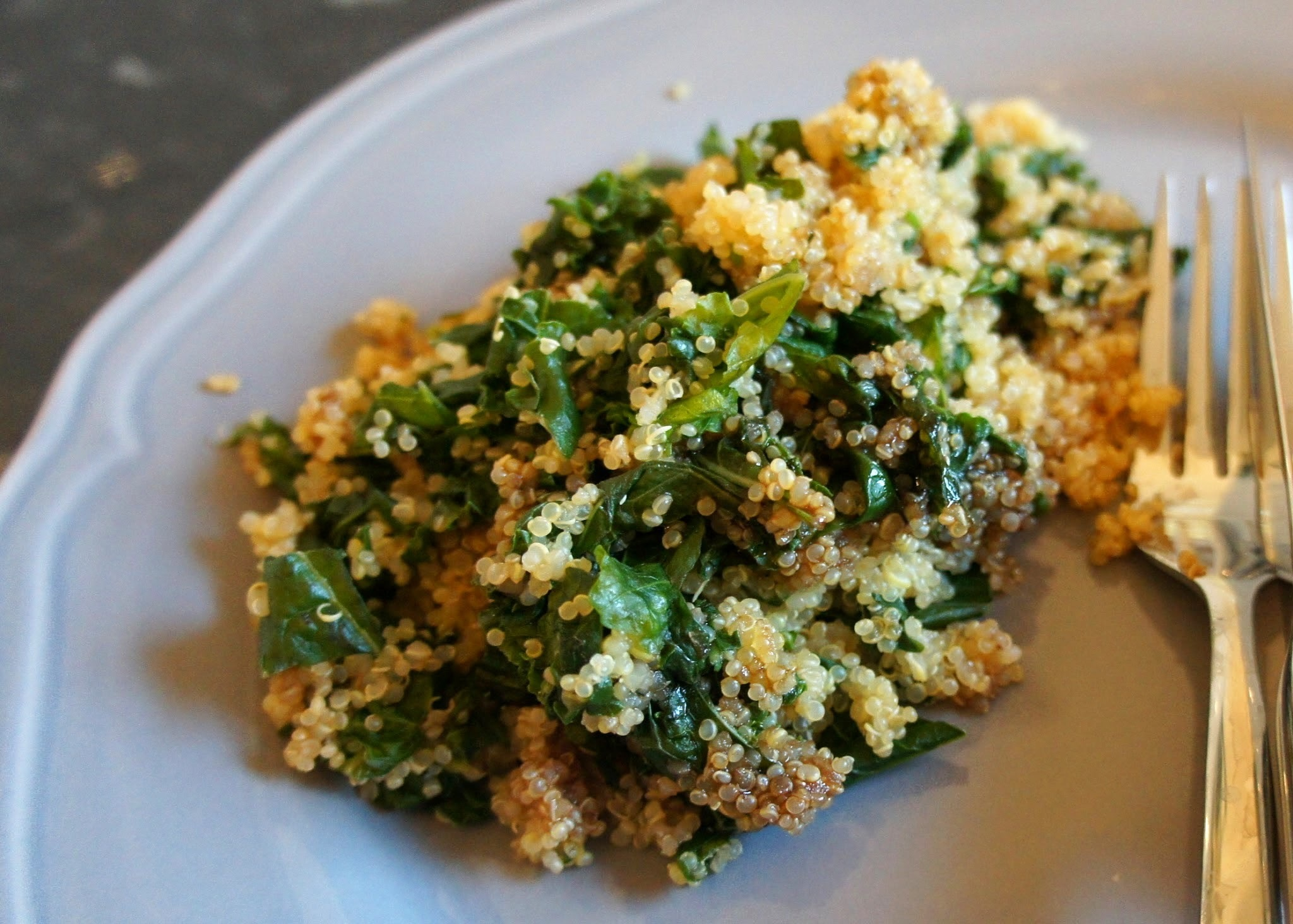Quick and easy side dishes: Fig balsamic kale quinoa, and spicy peanut tofu and broccoli