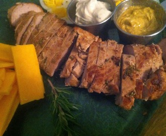 Herbed Pork Tenderloin . . . part of a protein platter
