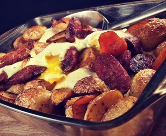 Roasted potatoes with chorizo