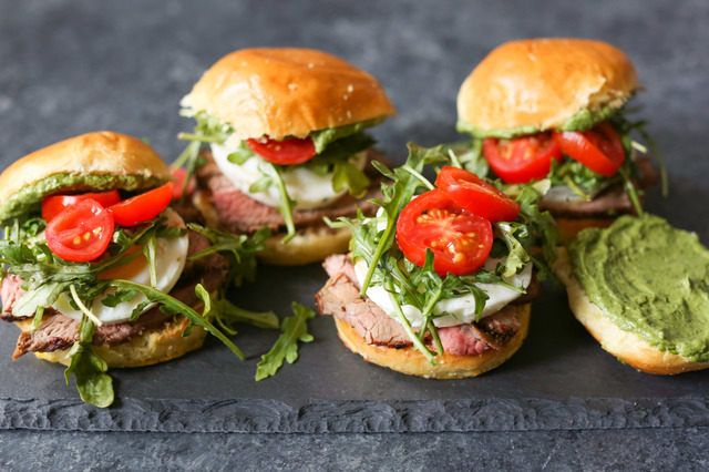 Steak and Egg Sliders with Herbed Avocado Spread