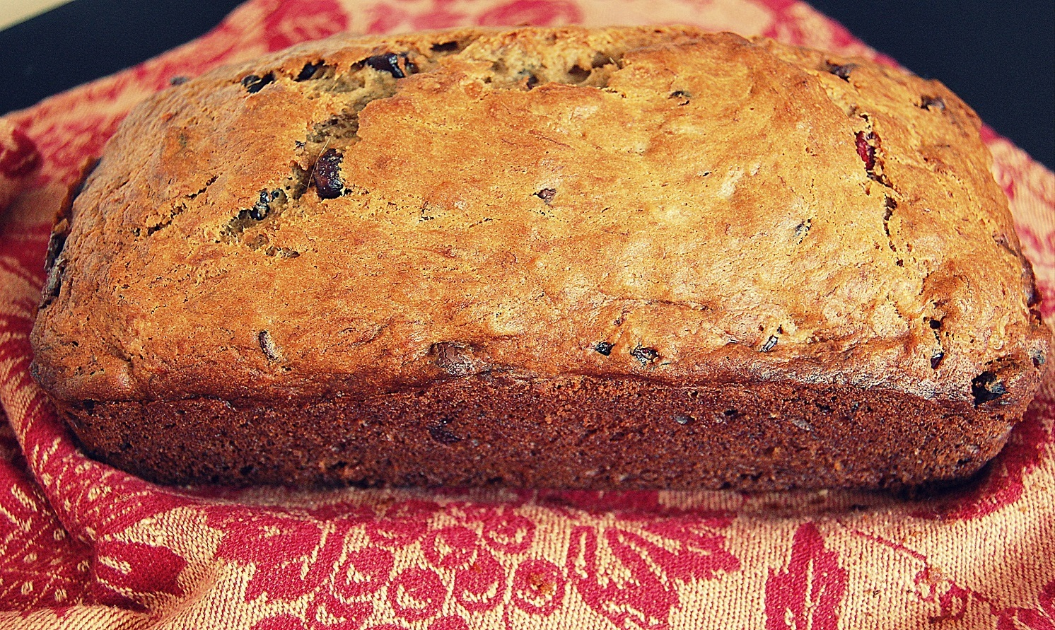 Banana Bread with Dried Cranberries and Chocolate Chips