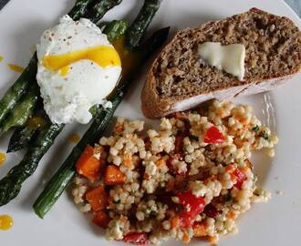 Parmesan Asparagus with Poached Eggs and Couscous Salad
