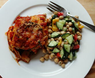Eggplant Parmesan and Cucumber Salad