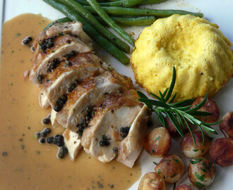Roast Chicken Breast with Green Peppercorn Sauce