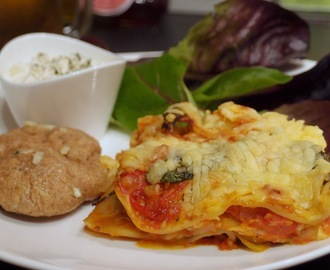 Mushroom and spinach lasagne with roasted tomato sauce and fried halloumi