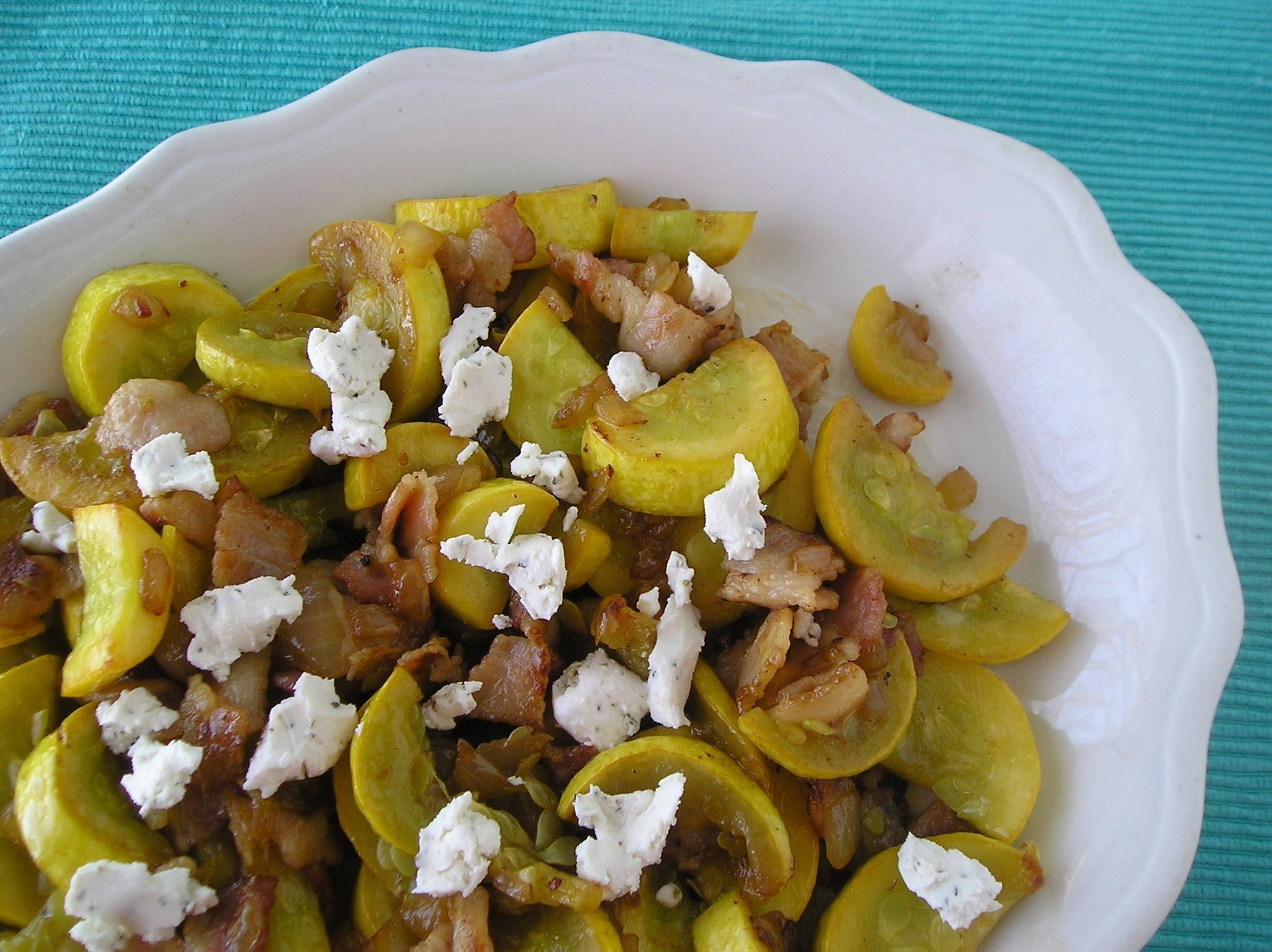 Secret Recipe Club: Summer Squash with Bacon and Goat Cheese