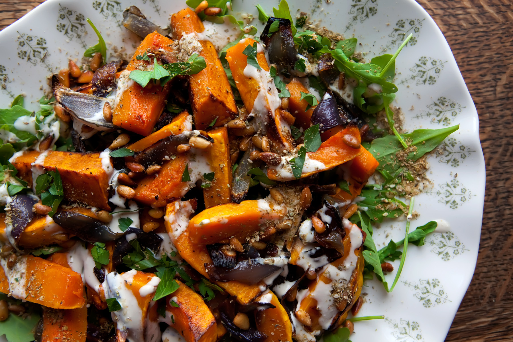 Roasted Butternut Squash & Red Onion with Tahini Sauce