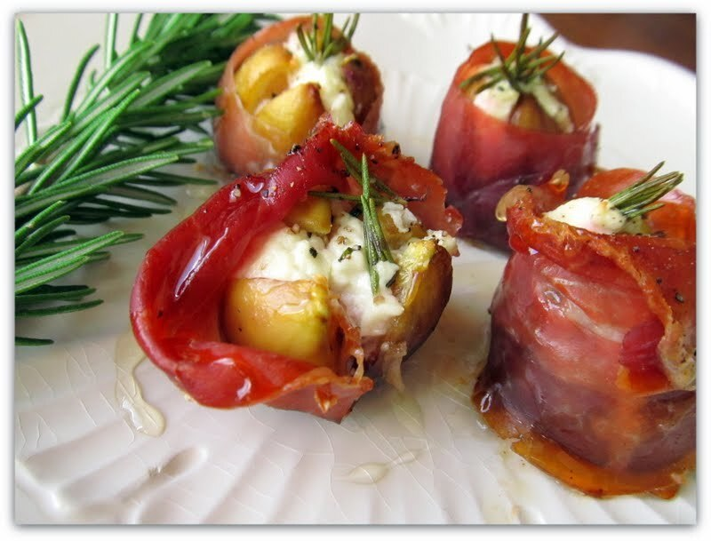 Figs Stuffed with Goat Cheese & Wrapped in Prosciutto