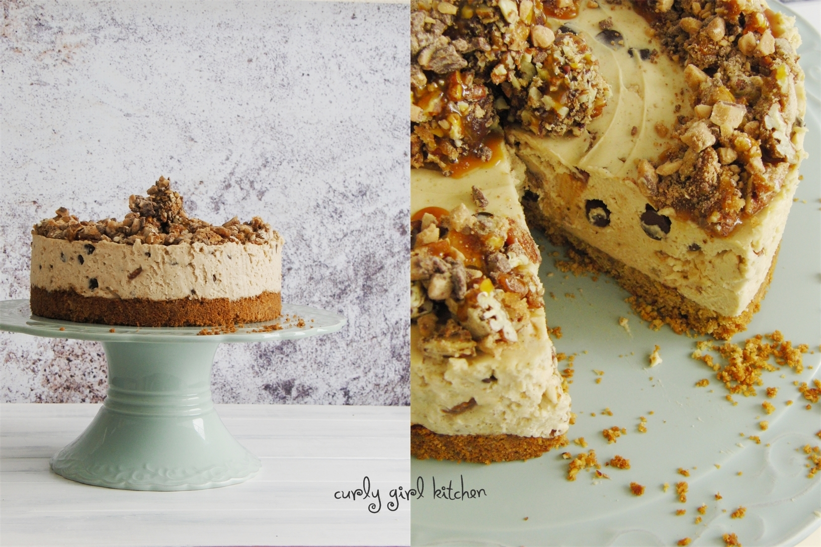 Chocolate Chip Cookie Dough Cheesecake with Salted Candied Pecans, Caramel and Toffee