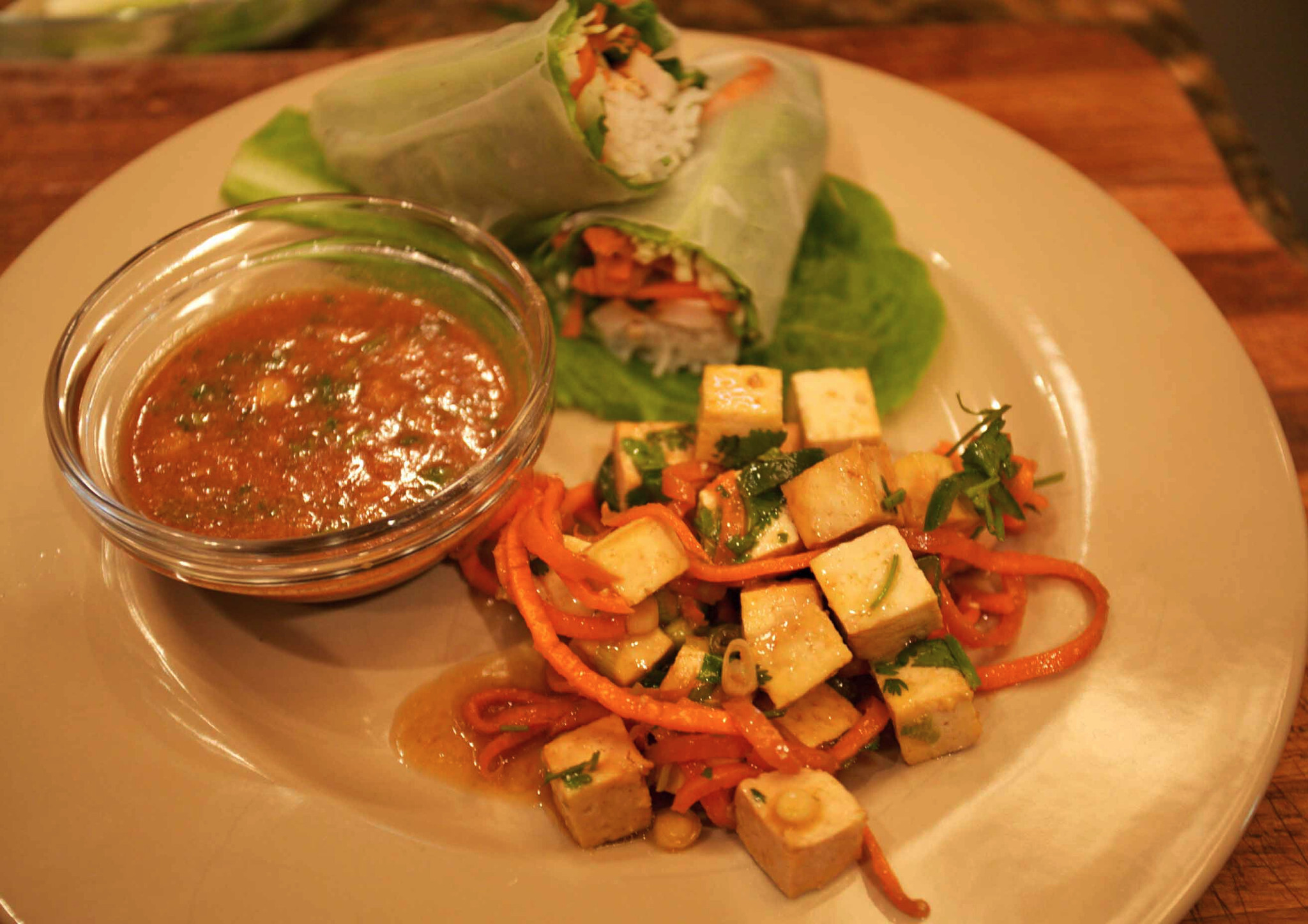 Tofu Salad and Asian Spring Rolls
