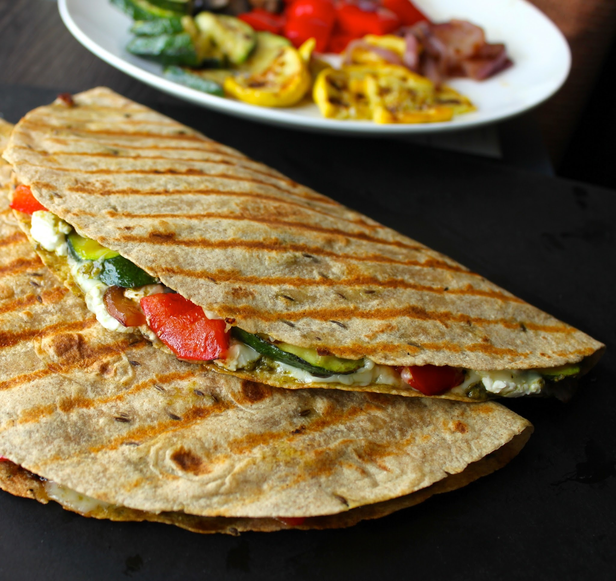 Grilled Vegetable Quesadillas with Goat Cheese and Pesto