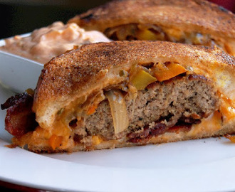 Creole Patty Melt with Caramelized Peppers, Onions, Bacon and Homemade Thousand Island Sauce