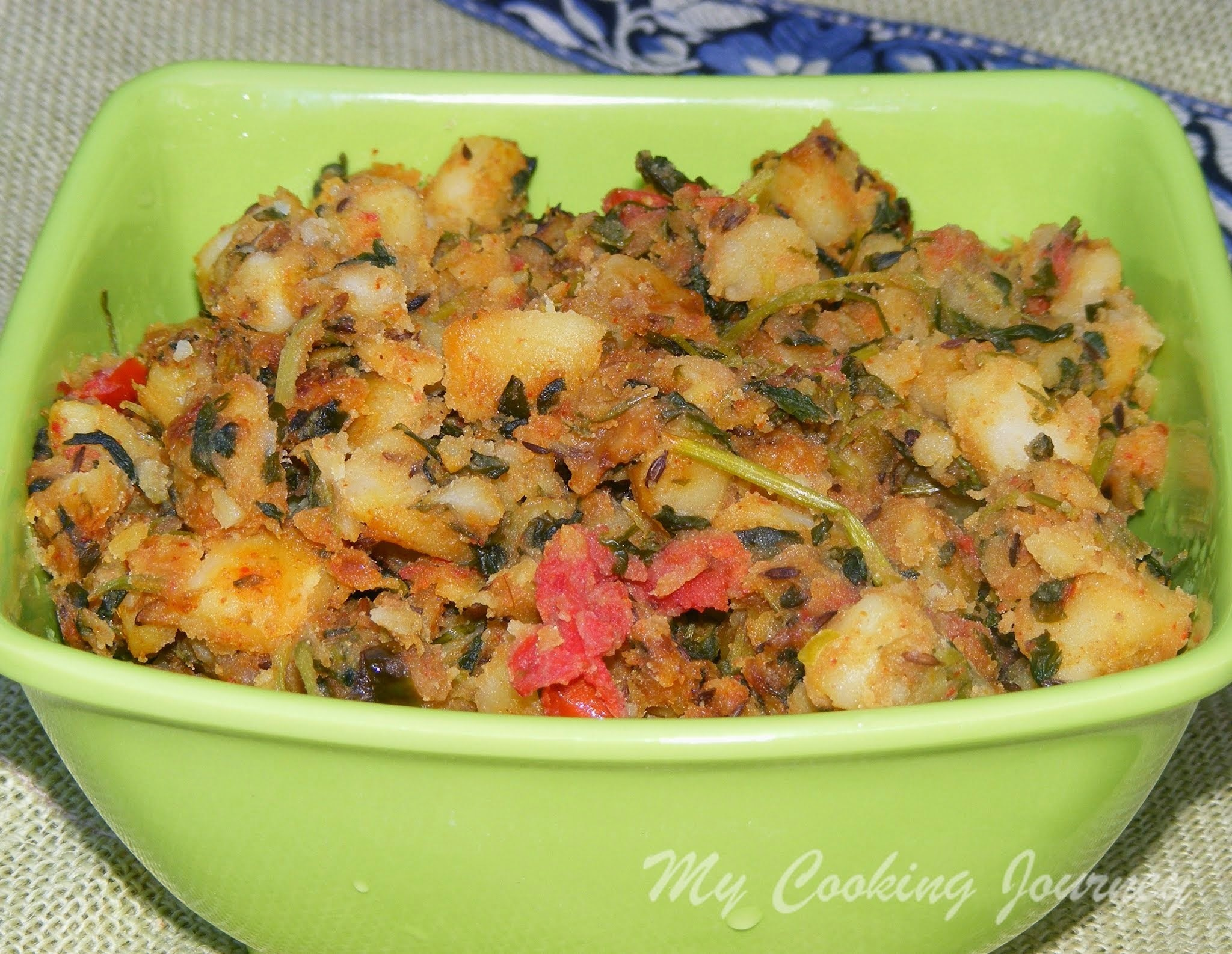 Aloo Methi (Potato and Fenugreek leaves curry) - No Onion, No garlic recipe (Vegan Thursday)