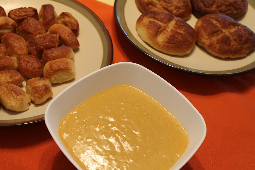 soft pretzels with beer cheese sauce (and) love