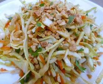 Thai Cabbage, Daikon And Carrot Salad Topped With Roasted Peanuts -  Vegan And Gluten Free