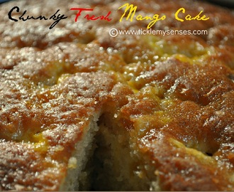 Mango Cake  with Fresh Mango chunks and Pecan nuts