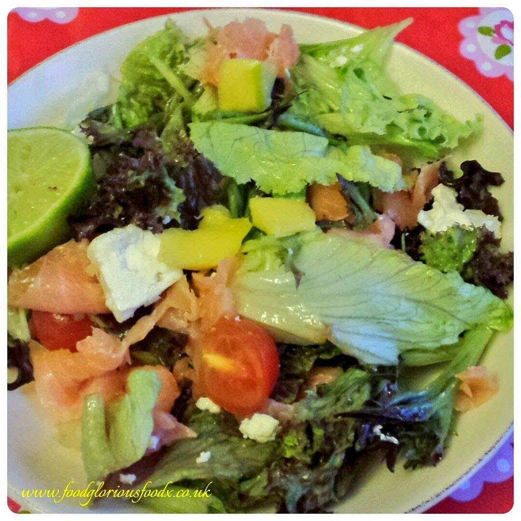 Mango, feta, smoked salmon & avocado salad with fresh lime juice