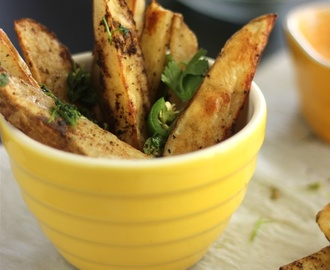 Baked Chaat Masala Fries with Chili Mayo