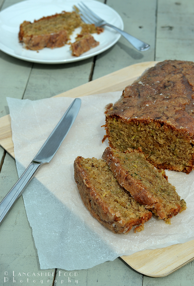Courgette and almond loaf with crunchy lemon topping