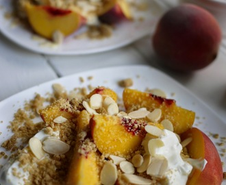 Peaches, Cream, Almond, Honey and Crumble