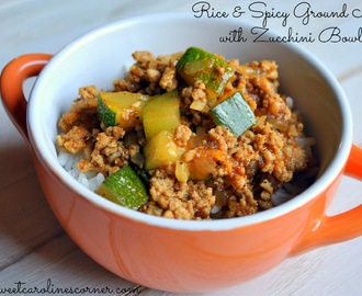 Rice & Spicy Ground Meat with Zucchini Bowls (Tigelas com Arroz & Carne Moida Picante com Abobrinha)