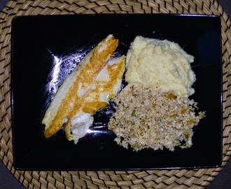Sea Bass Fillet's with Cauliflower Couscous and Purée Recipe
