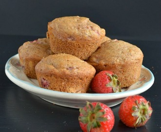 Whole Wheat Strawberry Banana Muffins (Egg-less)