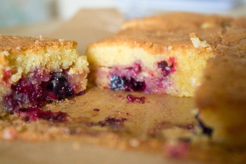 White Chocolate and Blackcurrant Blondies