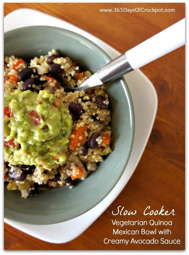 Recipe for Slow Cooker Vegetarian Quinoa Mexican Bowls with Creamy Avocado Sauce