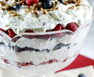 Triple Berry Punch Bowl Cake {Beautiful Red, White, & Blue!}