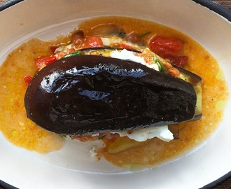 Baked Aubergine with Cherry Tomatoes & Buffalo Mozzarella