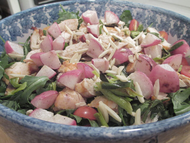 Grilled Chicken, Green Onion and Radish Salad