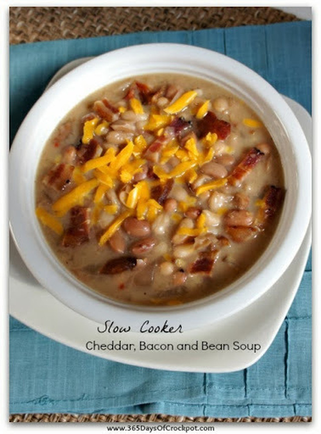 Recipe for Slow Cooker Cheddar, Bacon and Bean Soup
