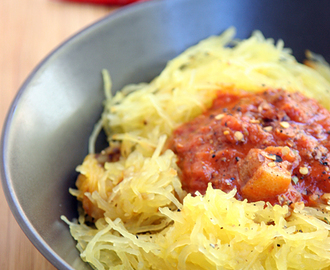 How to make Spaghetti Squash with a Spicy Caveman Sauce