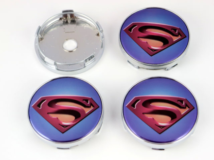 Superman centrumkåpor till fälgarna 60mm 4-pack