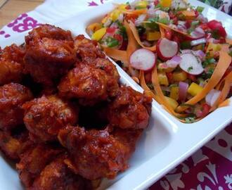 Fragrant turkey meatballs with natures jewelled salad