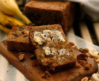 Banana bread with fruit and nuts