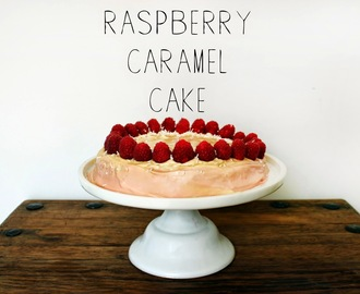 Raspberry Cake with Caramel Icing