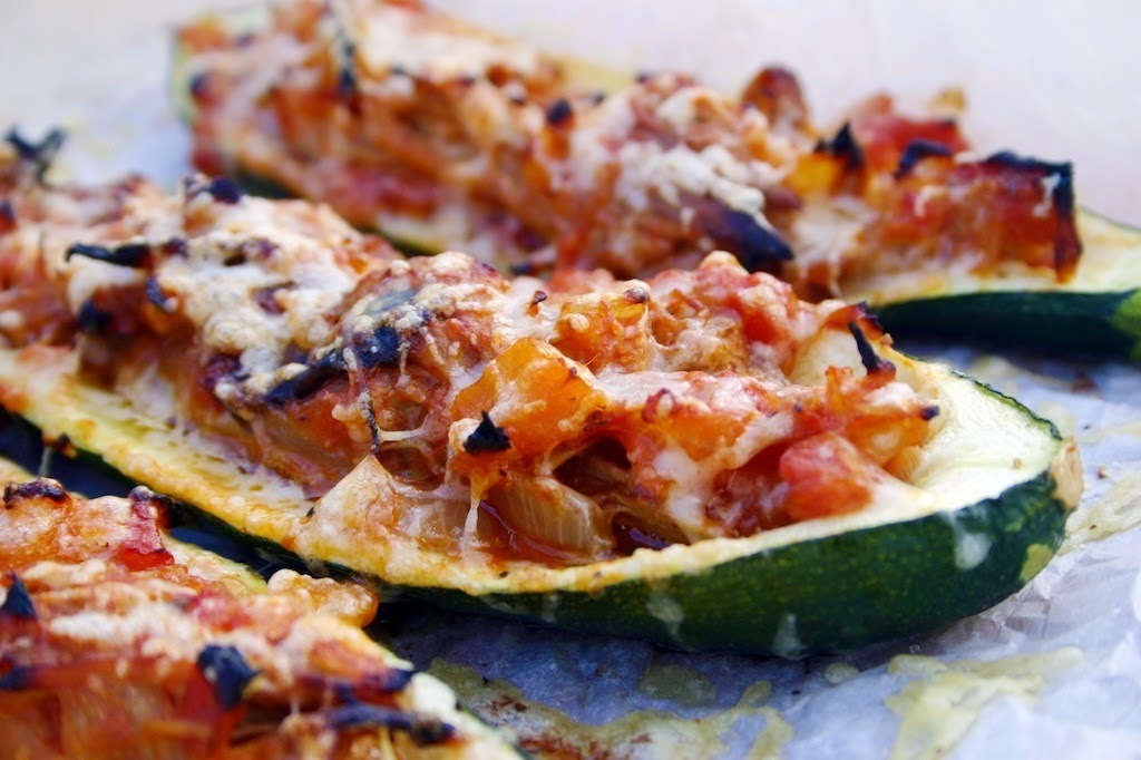 stuffed courgettes with gressingham duck ragu