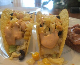 Fish (Cod) Tacos w/ Refried Beans