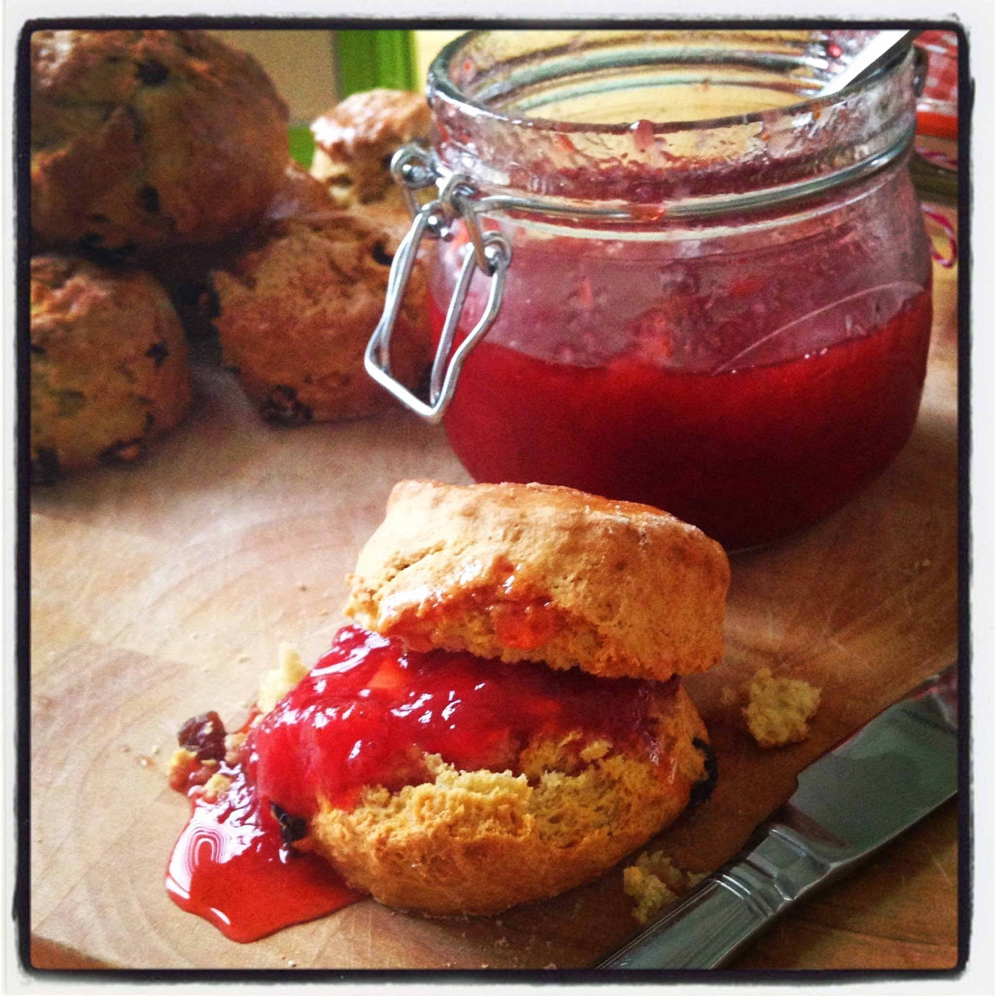 Freshly Baked Fruity Scones with Homemade Strawberry Jam