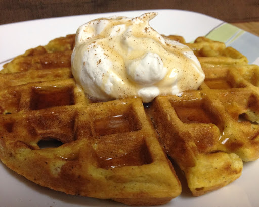 Pumpkin Waffles {with Maple Whipped Cream}
