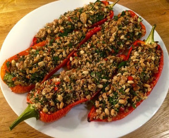 Spinach Stuffed Romano Peppers