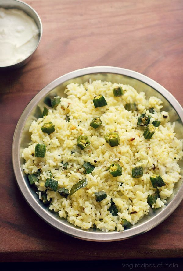 bhindi rice recipe | ladies finger rice recipe | easy okra rice recipe