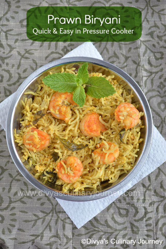 Prawn Biryani - Quick & Easy method using Pressure Cooker