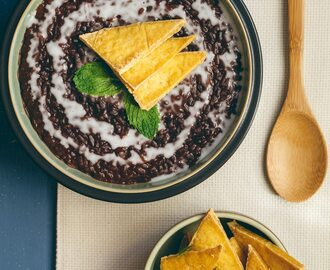 Champorado (Filipino Chocolate Rice Porridge) with Salted Tofu Chips