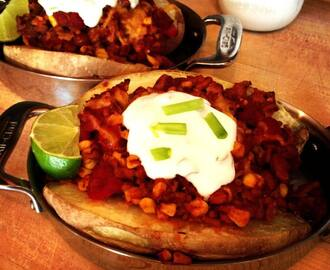 Chicken Chili Topped Baked Potato